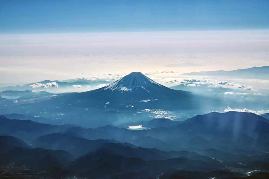 Mount Fuji in the morning mist from birds eye view