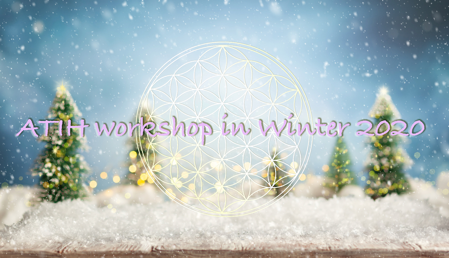 Beautiful winter background with wooden old desk, fir trees and blurred blue sky. Winter, New Year and Christmas concept with snowy background.