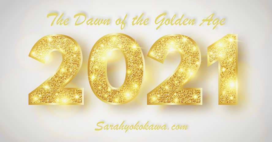 2021 Happy New Year banner. Luxury greeting card with gold sparkling numbers. Bright holiday background. Christmas decoration. Party design elements. Vector illustration.